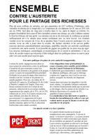 TRACT - ENSEMBLE CONTRE L'AUSTERITE POUR LE PARTAGE DES RICHESSES