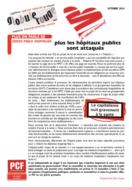 A coeur ouvert - quatrième trimestre 2014 - Plus on parle de service public hospitalier, plus les hôpitaux publics sont menacés