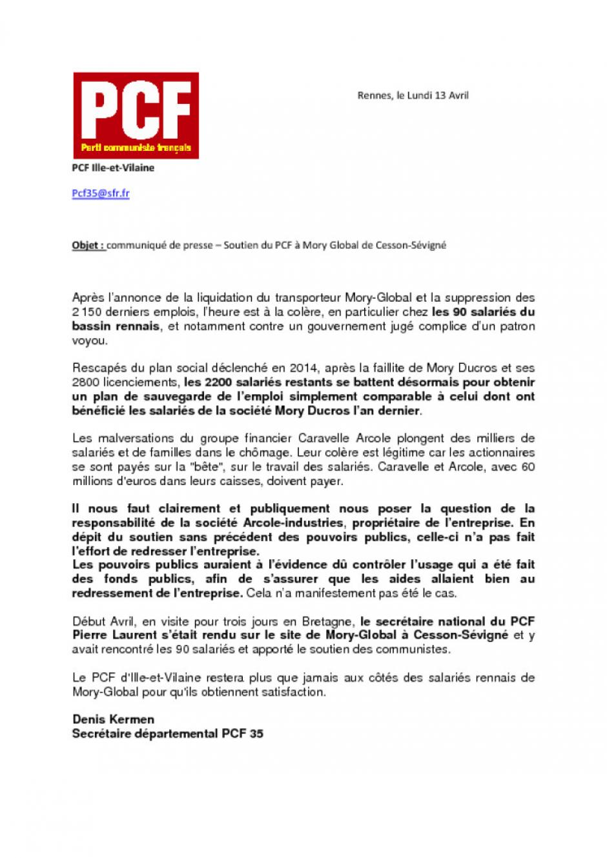 Communique De Presse PCF 35 Soutien Du A Mory Global Cesson Sevigne
