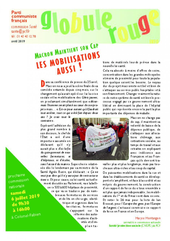 Globule Rouge - avril 2019 - Macron maintient son cap, les mobilisations aussi !