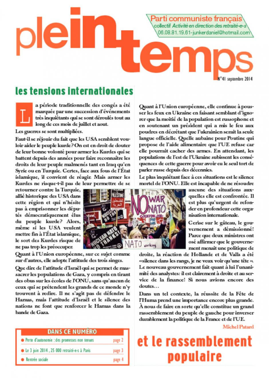 Plein Temps - Septembre 2014 - Les tensions internationales