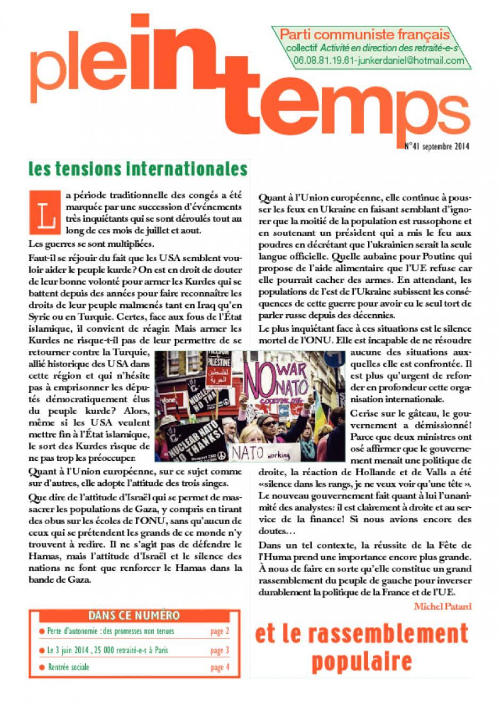 Plein Temps - Septembre 2014 - Les tensions internationales
