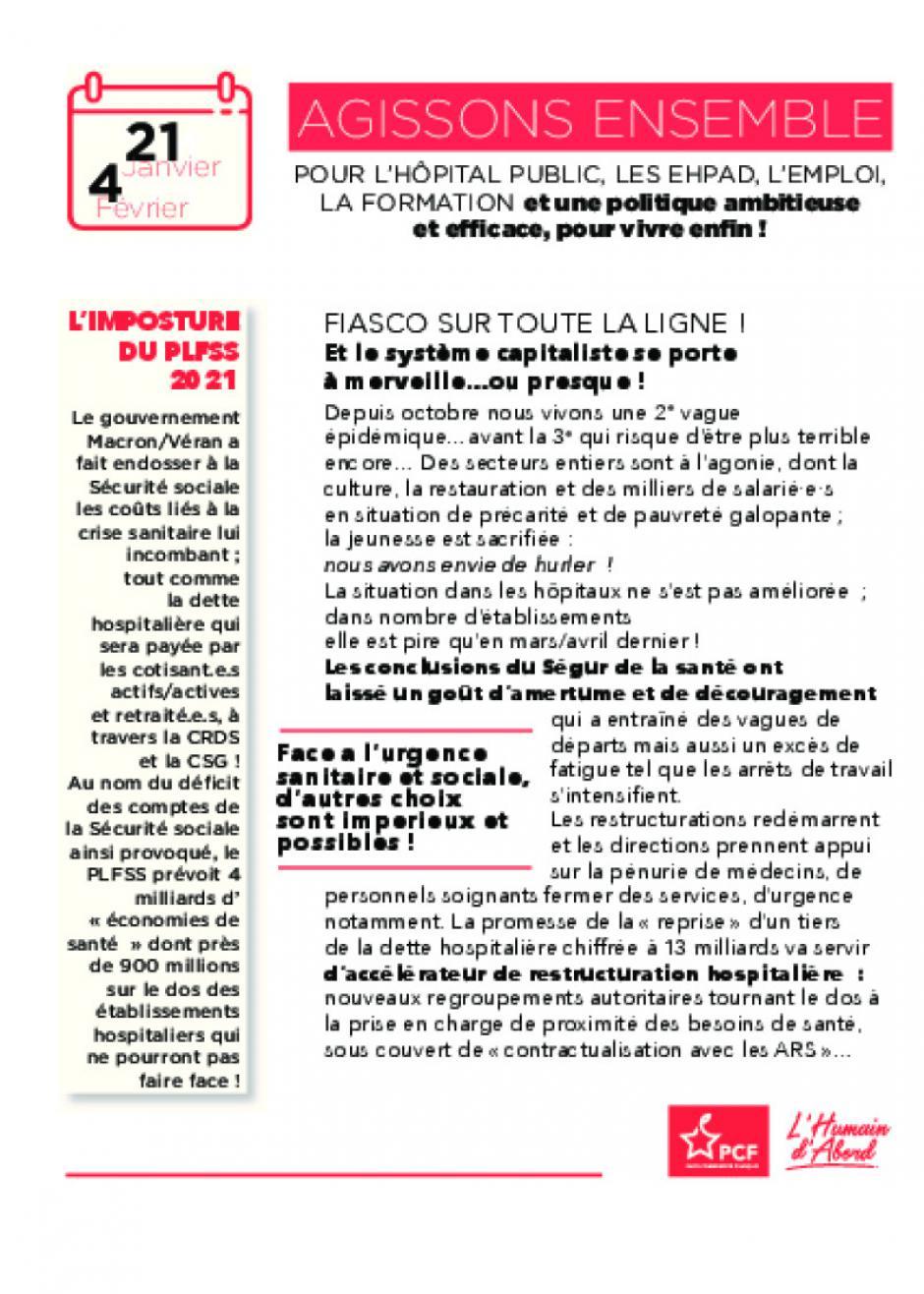 Tract d'appel à la mobilisation le 21 janvier