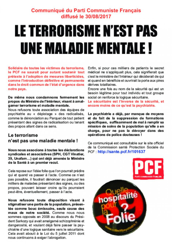 Psychiatrie : tract du PCF